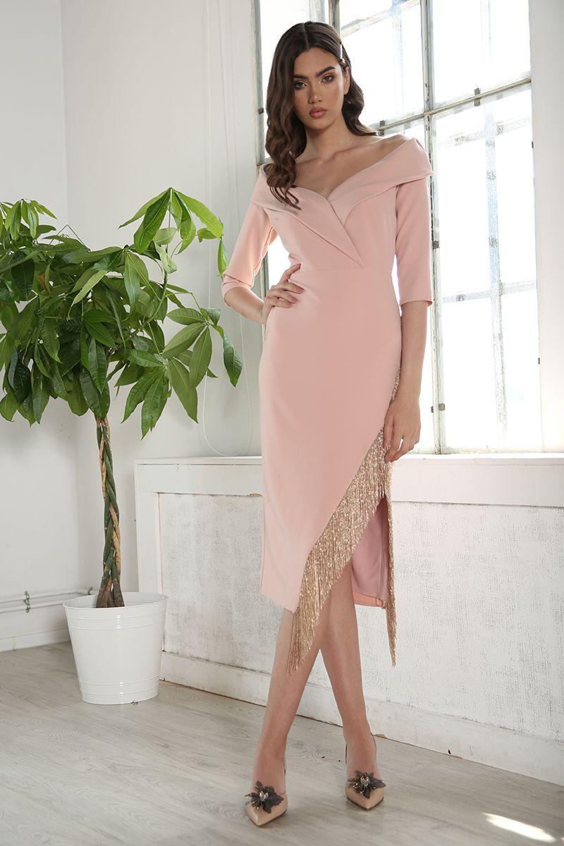 Rochie de seara midi Ashely roz