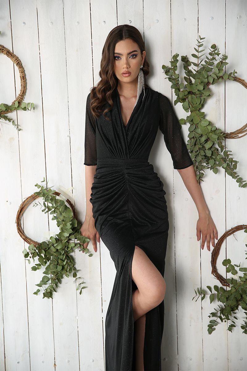 Rochie de seara lunga tip sirena Kim neagra