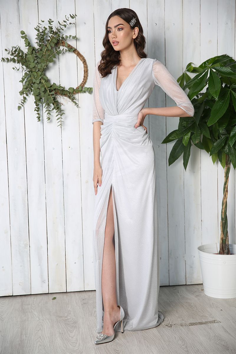 Rochie de seara lunga tip sirena Kim argintie
