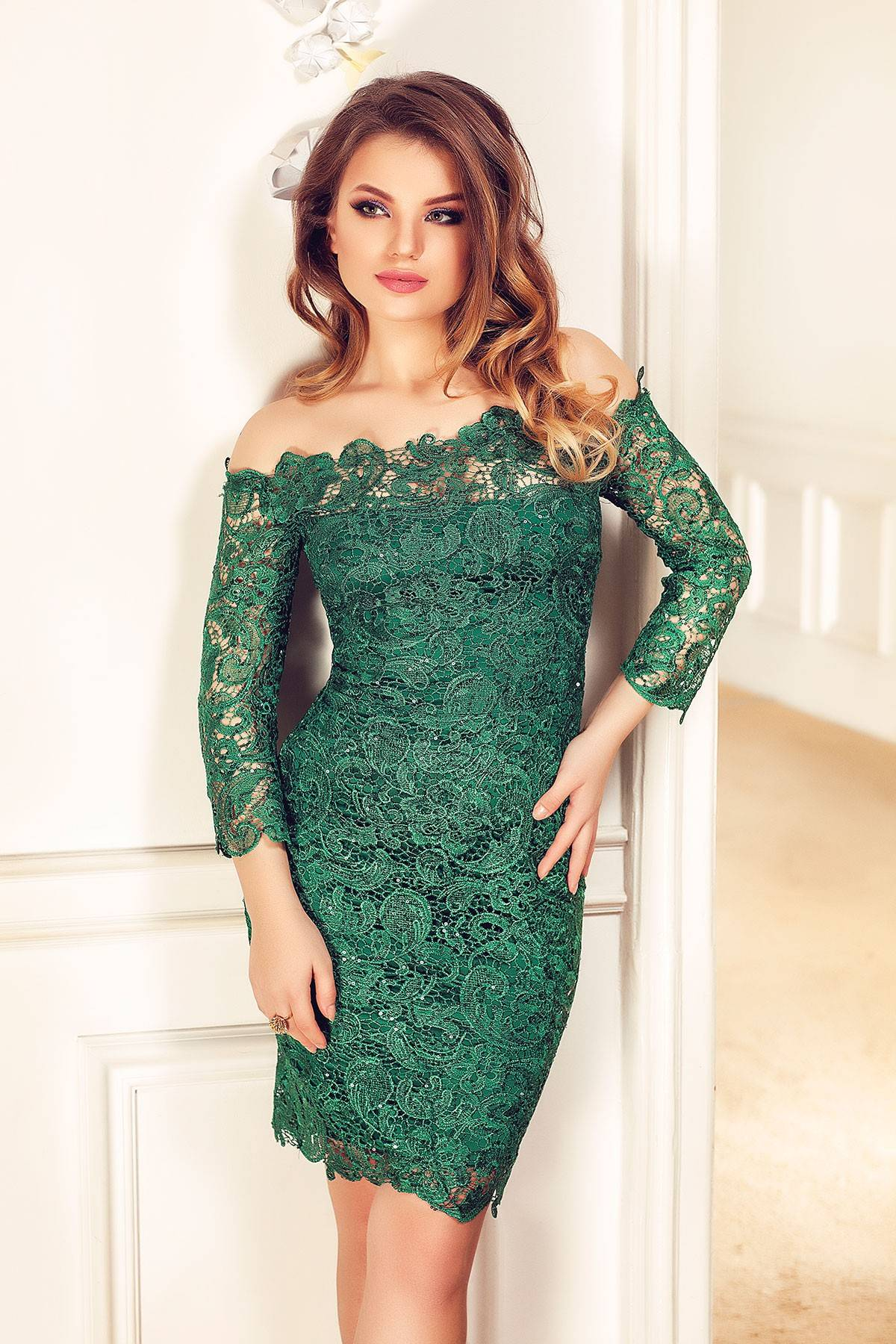 Rochie Zaira Verde Smarald Rochie Eleganta Miss Grey