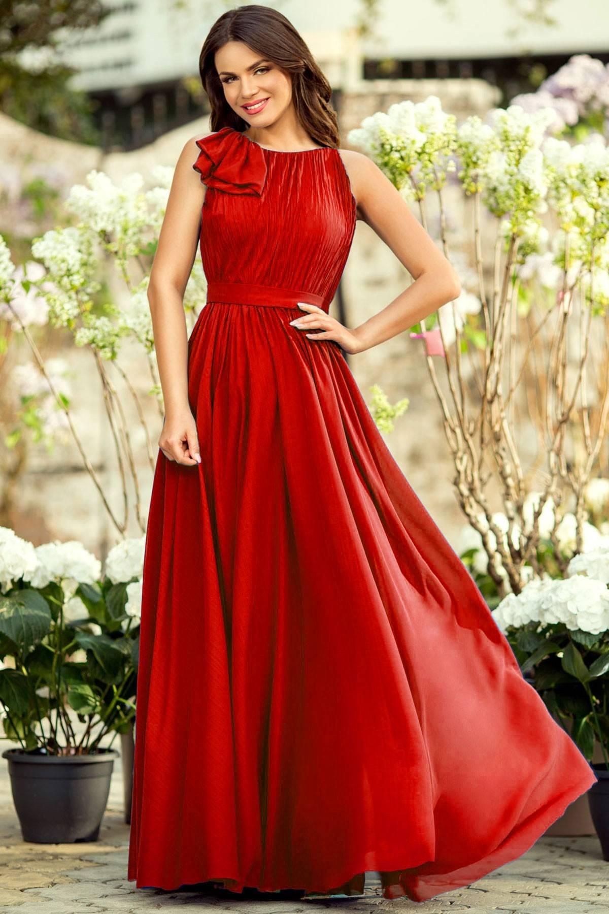 rochie eleganta voal rosu