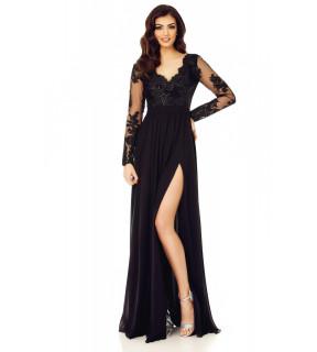 Rochie lungă din voal şi dantelă neagră cu paiete Darma