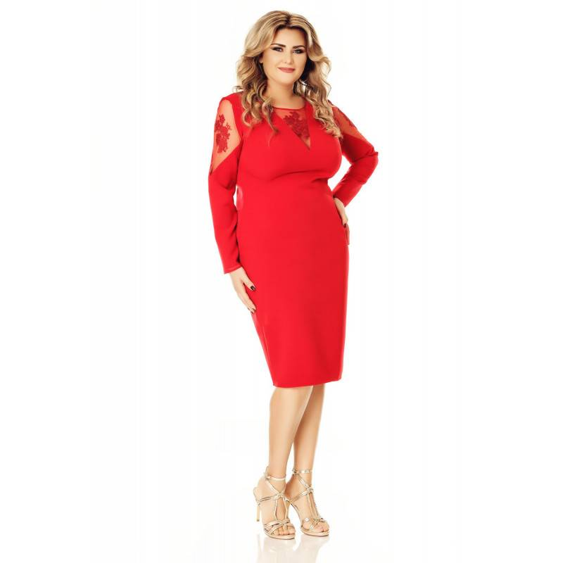 Rochie rosie Plus Size Iman