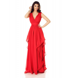 Rochie lungă din voal roşu Ema cu bust fronsat