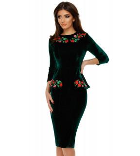 Rochie midi din catifea verde Amara cu peplum
