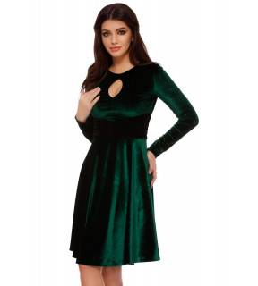 Rochie midi cloş din catifea verde Odette