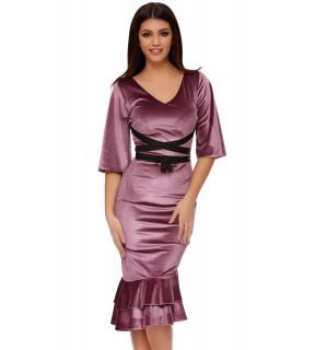 Rochie midi din catifea lila cu volane Naomi