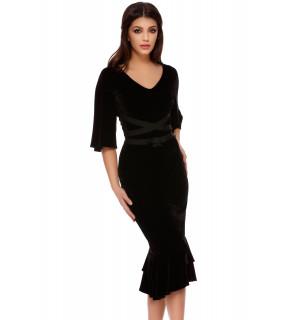 Rochie midi din catifea neagră cu volane Naomi