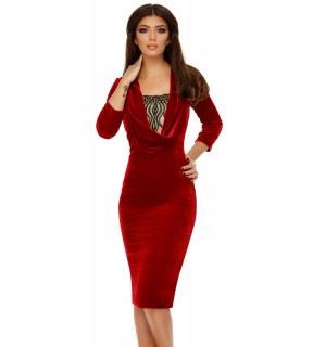 Rochie midi din catifea roșie Adalyn cu guler drapat