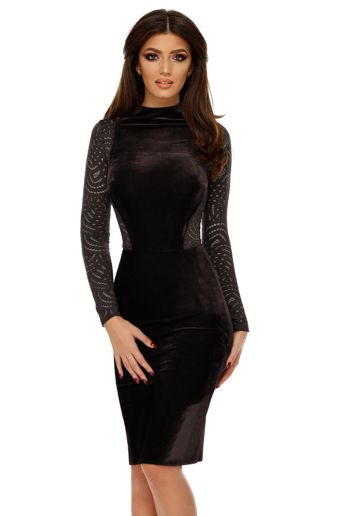 Rochie midi din catifea neagră Xenia