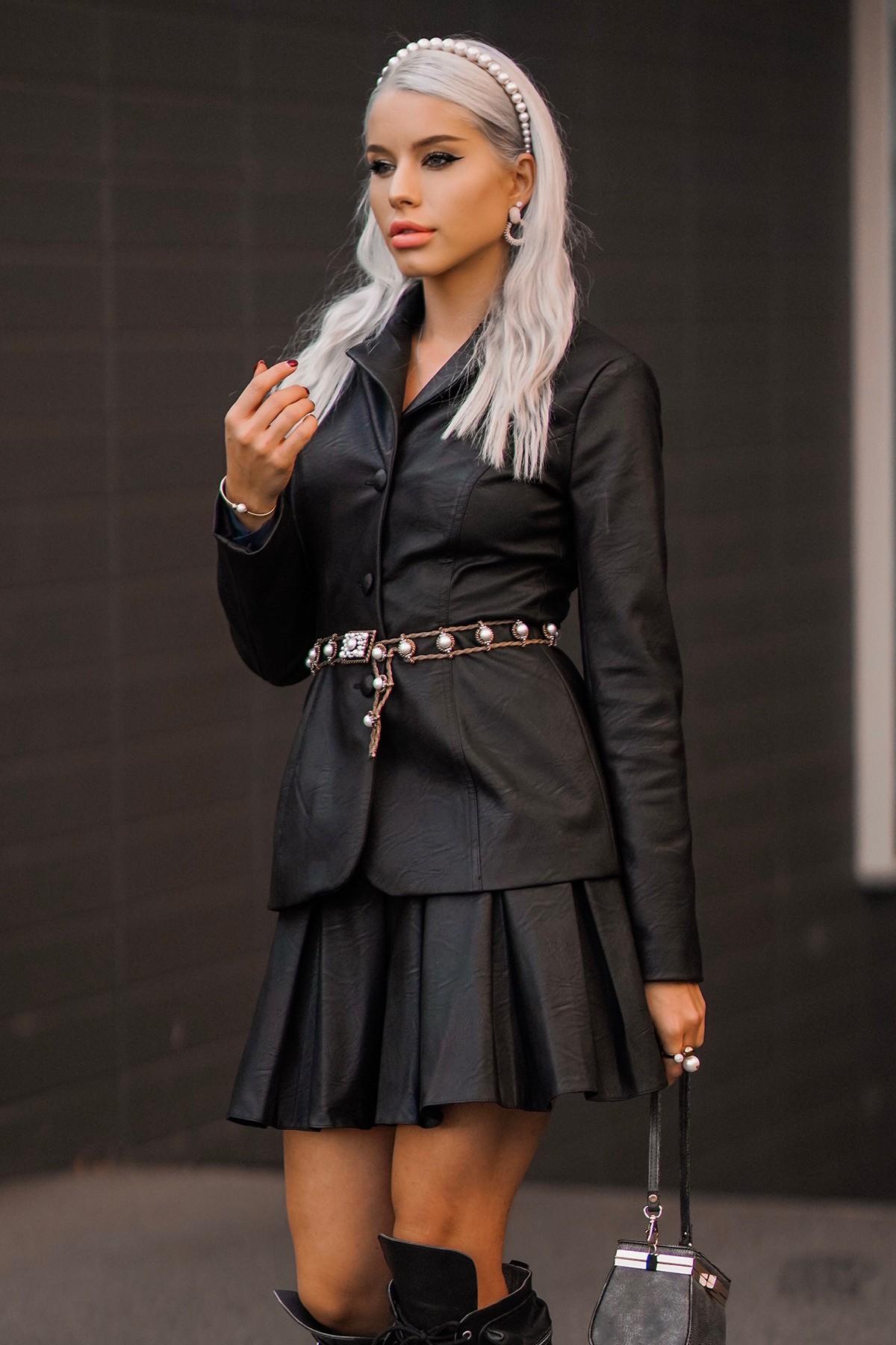 Sacou din piele ecologică neagră Cyber Girl