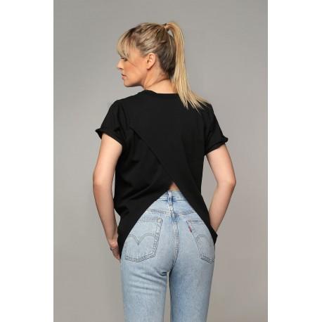 Tricou negru cu mâneci scurte şi spate decupat