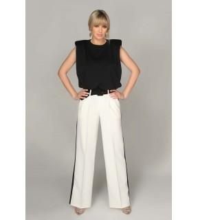 Pantalon alb cu vipuşcă
