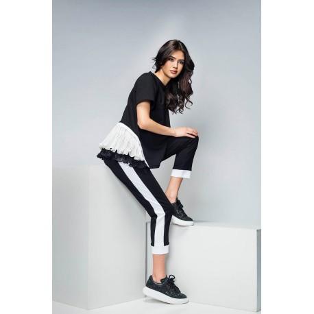 Pantalon trening din bumbac negru cu benzi laterale albe