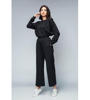 Trening damă negru din tricot cropped