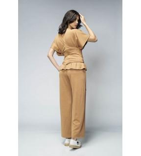 Pantalon de trening din tricot camel cu croi larg