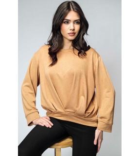 Bluză din tricot asimetrică cu pliuri camel