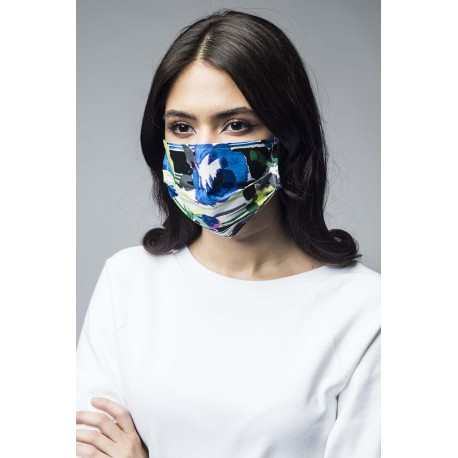 Mască de protecție pentru față, reutilizabilă, din bumbac cu imprimeu multicolor