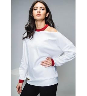 Bluză din bumbac alb cu decupaj asimetric pe umăr