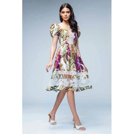Rochie din satin cu imprimeu floral si inerţie din dantelă
