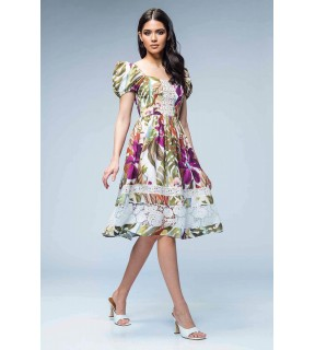 Rochie din satin cu imprimeu floral si inserţie din dantelă