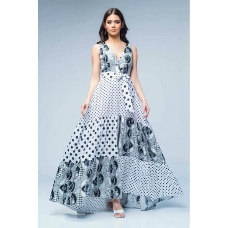 Rochie lungă din poplin cu imprimeu alb, negru