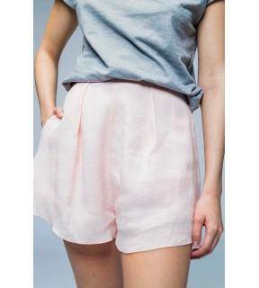 Pantalon scurt din in cu talie înaltă