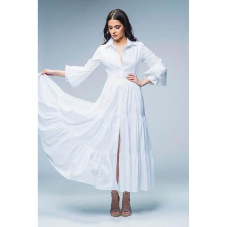Rochie lungă din poplin cu mâneci şi volane