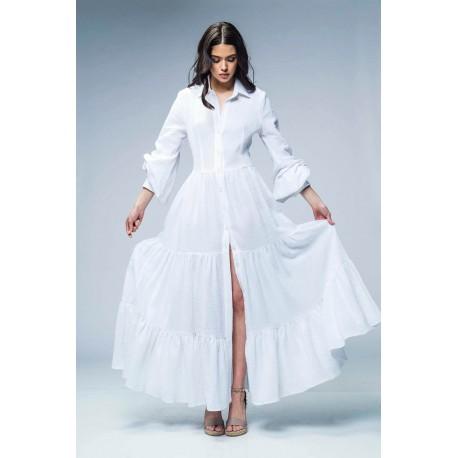 Rochie lungă din pânză topită cu mâneci şi volane