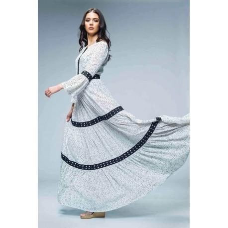 Rochie lungă cu imprimeu buline şi inserţii din dantelă