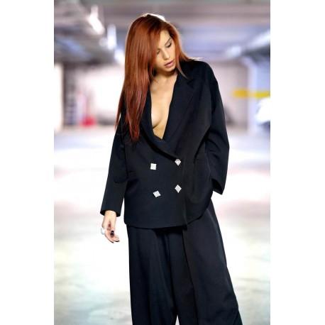 Jachetă oversized cu nasturi tip bijuterie