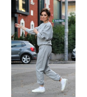 Pantaloni oversize jogger din bumbac vătuit