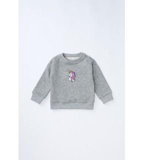 Bluză din bumbac vătuit cu broderie Unicorn pentru bebeluşi, fete