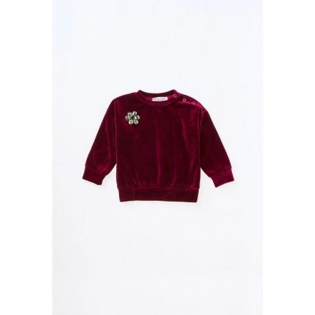 Bluză din catifea de bumbac cu aplicaţie tip broşă floare pentru fete
