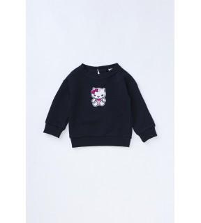 Bluză din bumbac flauşat cu broderie Hello Kitty pentru fete