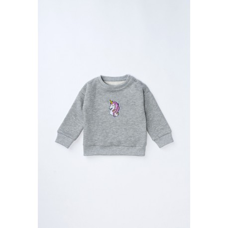 Bluză din bumbac vătuit cu broderie Unicorn pentru fete