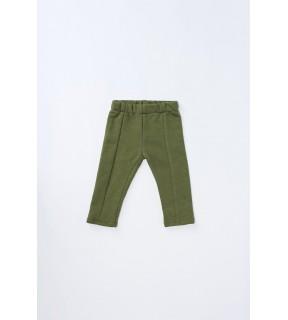 Pantalon din bumbac flauşat cu o cusătură pe mijloc pentru bebeluşi, fete