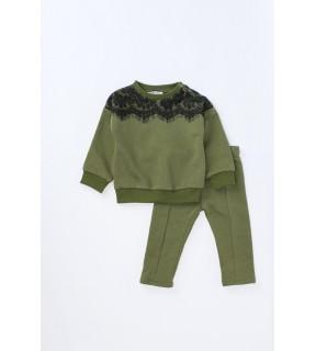 Bluză din bumbac flauşat cu inserţie din dantelă pentru fete