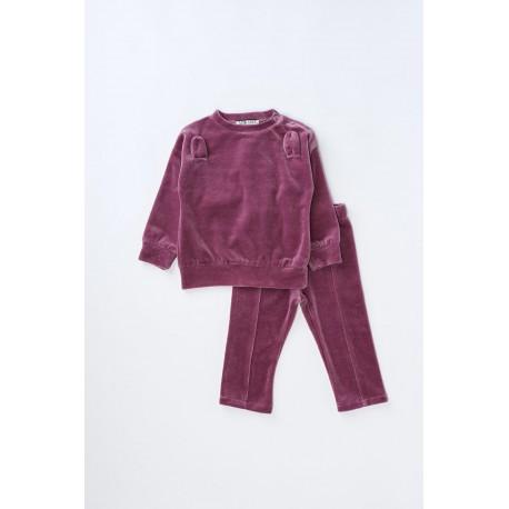 Bluză din catifea de bumbac cu urechi pentru bebeluşi, fete