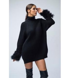 Pulover din tricot oversize cu aplicaţii din pene