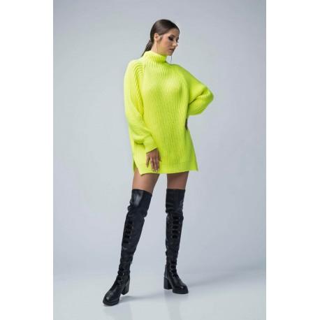 Pulover din tricot oversize verde neon