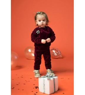 Compleu din catifea de bumbac cu aplicaţie tip broşă floare pentru bebeluşi, fete