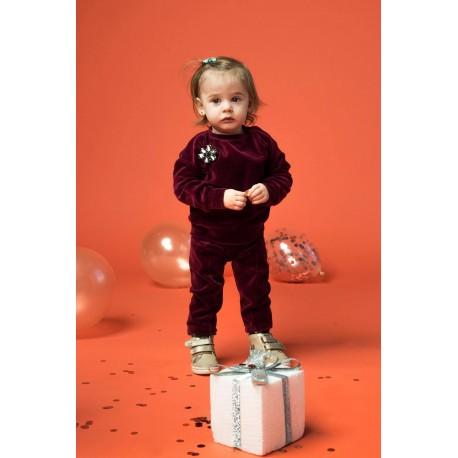 Bluză din catifea de bumbac cu aplicaţie tip broşă floare pentru bebeluşi, fete