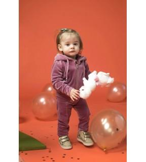Hanorac din catifea de bumbac cu glugă pentru bebeluşi, fete