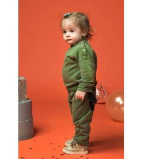 Bluză din bumbac flauşat cu inserţie din bandă ripsată pentru bebeluşi, fete