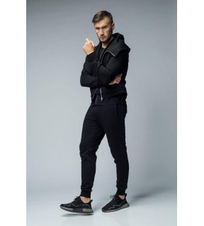 Pantaloni jogger din bumbac flauşat cu benzi laterale