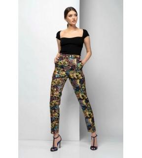 Pantaloni din jacard cu imprimeu floral
