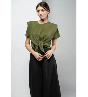 Tricou din bumbac cu perniţe la umeri înnodat în faţă