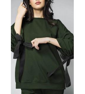 Bluză oversize din bumbac cu detalii din bandă ripsată