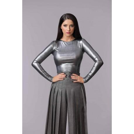 Bluză Eris metalizată cu mânecă lungă